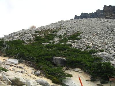A parte da trilha no meio das pedras