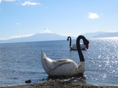 Lago visto da cidade de Llanquihue, com cisnes de concreto