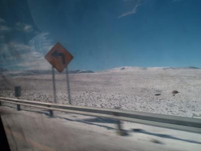 Estrada nevada (veja na outra foto como estava há poucos quilometros atrás)